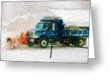 Snow Plow Painterly Greeting Card
