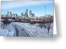 Snow Plowed Public Roads In Charlotte Nc Greeting Card