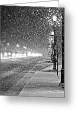 Snow Rush In Black And White Greeting Card