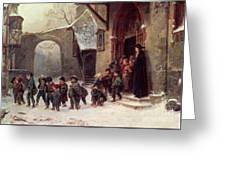 Snow Scene  Children Leaving School Greeting Card