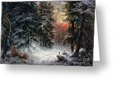 Snow Scene In The Black Forest Greeting Card