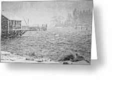 Snow Storm In Bass Harbor On Mount Desert Island Maine Greeting Card
