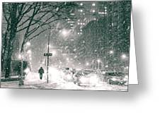 Snow Swirls At Night In New York City Greeting Card
