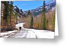 Snow Walking Greeting Card