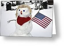 Snow Woman With Flag Greeting Card