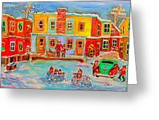 Snowball Fight Greeting Card by Michael Litvack