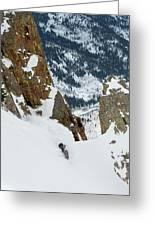 Snowboarder Doing A Slash Greeting Card
