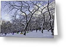 Snowboarders In Central Park Greeting Card