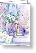 Snowdrops And Anemones Greeting Card
