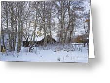Snowed Cabin Greeting Card