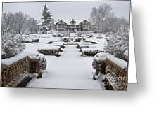 Snowfall At Longview Mansion Greeting Card