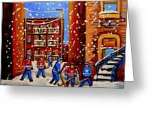 Snowfall Hockey Game Winter City Scene Greeting Card by Carole Spandau