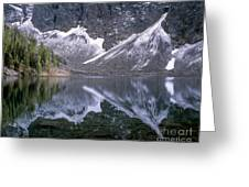 Snowfield Reflection On Blue Lake  Greeting Card