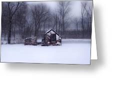 Snowing At Narcissa Road Springhouse Greeting Card