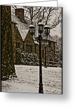 Snowing At Stokesay Castle Greeting Card