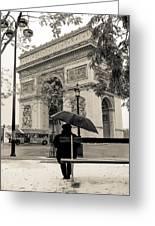 Snowing In Paris Greeting Card