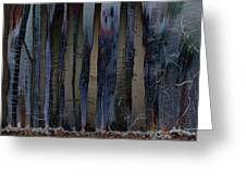 Snowing In The Ice Forest At Night Greeting Card