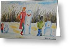 Snowman Competition Greeting Card