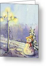 Snowman Enyoying The Light Greeting Card