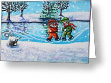 Snowman Friends Ice Skating  P2 Greeting Card