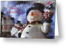 Snowman Merry Christmas Photo Art 05 Greeting Card