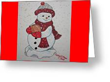 Snowman Playing Basketball Greeting Card