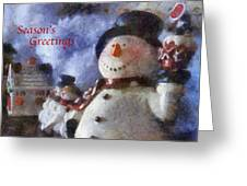 Snowman Season Greetings Photo Art 01 Greeting Card