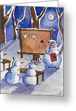 Snowman University Greeting Card