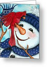 Snowman W/ Cardinal Visitor Greeting Card