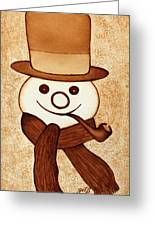 Snowman With Pipe And Topper Original Coffee Painting Greeting Card