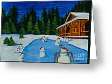 Snowmans Hockey Two Greeting Card