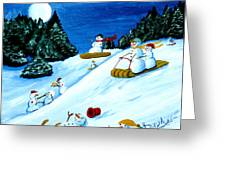 Snowmans Winter Sports Greeting Card