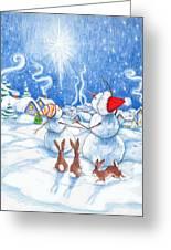 Snowmen And Christmas Star Greeting Card
