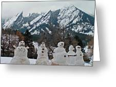 Flatiron Snowmen. Greeting Card