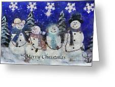 Snowmen Merry Christmas Photo Art Greeting Card