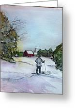 Snowshoeing In Northern Maine Greeting Card