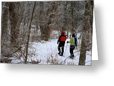 Snowshoeing In The Park Greeting Card