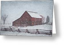 Snowstorm At The Ranch 2 Greeting Card