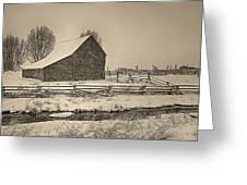 Snowstorm At The Ranch Sepia Greeting Card