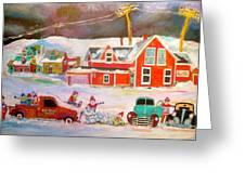 Snowstorm Helpers Montreal Memories Greeting Card by Michael Litvack