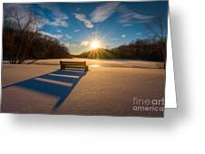 Snowy Bench Greeting Card