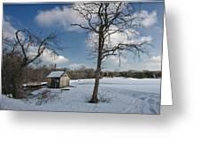 Snowy Bog House Greeting Card