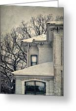 Snowy Brick House Greeting Card
