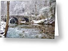 Snowy Bridge Along The Wissahickon Greeting Card