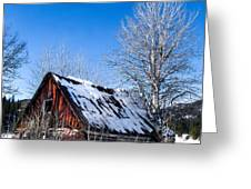 Snowy Cabin Greeting Card