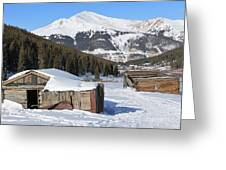 Snowy Cabins Greeting Card