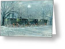 Snowy Carriages Greeting Card