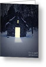 Snowy Chapel At Night Greeting Card
