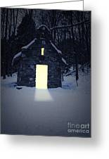 Snowy Chapel At Night Greeting Card