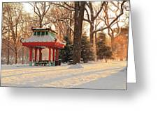 Snowy Chinese Shelter Greeting Card